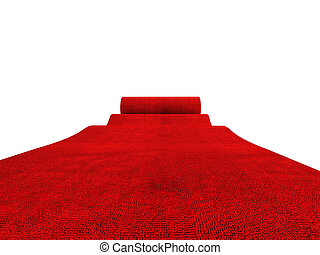 rolling red carpet - classic rolling red carpet on white...