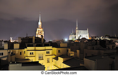 Brno, Czech Republic - Nightscape of the city of Brno, Czech...
