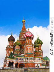 St Basils Cathedral in Red Square, Moscow. - Evening view of...