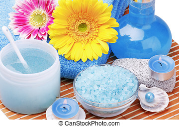 spa products and aromatherapy with a flower