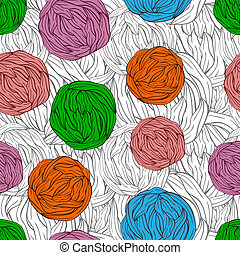 bright tangles on seamless monochrome background - vector...