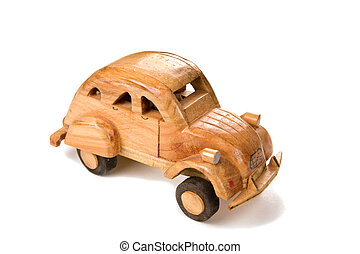 wooden toy car isolated on white background with shadow