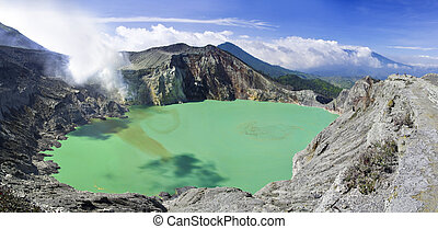 Sulphatic lake in a crater of volcano Ijen. Indonesia -...