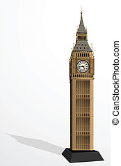 Big Ben Tower - illustration of Big Ben Tower on plain...