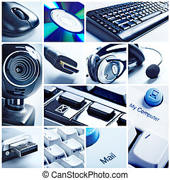 Computer Technology keyboard, mouse, camera and connectors