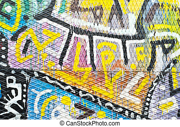 Colorful Urban Art - colorful urban art with symbols and...