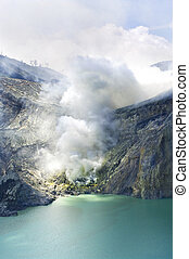 Sulphatic lake in a crater of volcano Ijen Java Indonesia