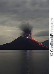 Night volcano eruption. Anak Krakatau, Indonesia
