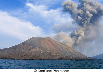 volcano eruption Anak Krakatau, Indonesia