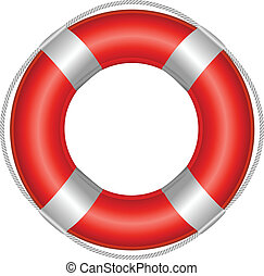 Life Buoy - Red Life Buoy, Isolated On White Background,...