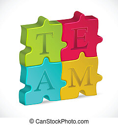 Team Jigsaw Puzzle - illustration of jigsaw puzzle forming...