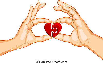 Couple forming Heart - illustration of male and female...