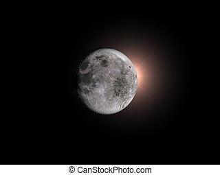 Total eclipse of the moon - 3D rendering of a total eclipse...