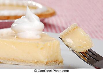 mordedura, plátano, crema, Pastel, tenedor