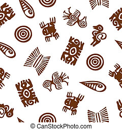 Stylized Aztec animal figures Seamless pattern