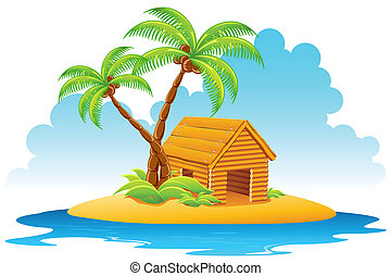 Hut in Island - illustration of wooden home with palm tree...