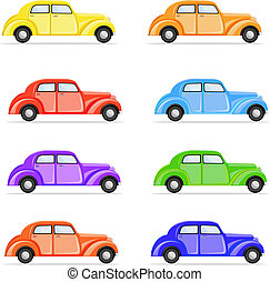 Colorful Car - illustration of set of colorful car on...