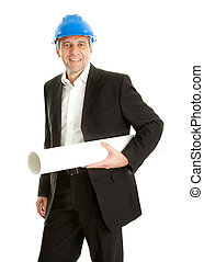 Portrait of successfull architect wearing blue hard hat and...