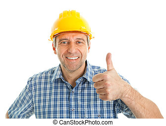 Worker wearing hard hat - Confident worker wearing hard hat....