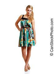 blond teenager posing  summer dress