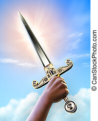 Victory - Male hand holding a short sword over a bright sky...