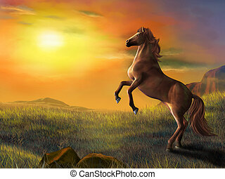 Rising horse over a beautiful landscape at sunset. Digital...