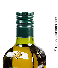 Olive oil - A bottle with olive oil isolated on the white