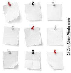 empujón, alfiler, nota, papel, oficina, empresa /...