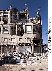 Demolishing building in Kiel, Germany