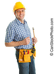 Confident worker with hammer - Confident worker wearing hard...