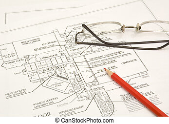 draftings, pencil and glasses - draftings, red pencil and...