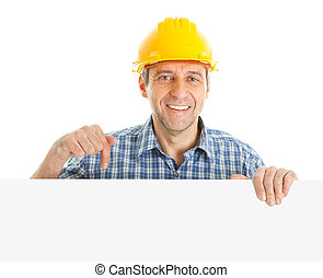 Confident worker presenting empty board Isolated on white