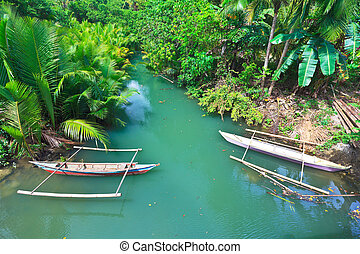 Boats - Traditional Philippine boat. Beautiful river....