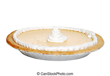 Isolated banana pie with whip cream on white background