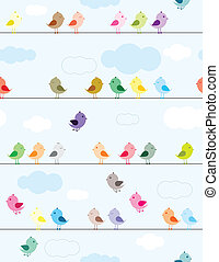 Birds on wires - Colorful birds sitting on wires seamless...