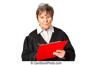 Female lawyer with clipboard isolated on white background