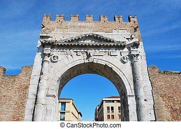 Augustus' triumph arch, Rimini, Italy