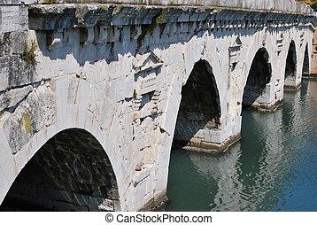 Tiberius' bridge, Rimini, Italy - Historical roman Tiberius'...
