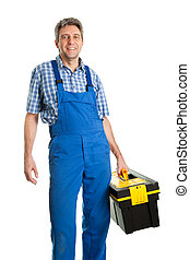 Confident service man with toolbox - Confident service man...