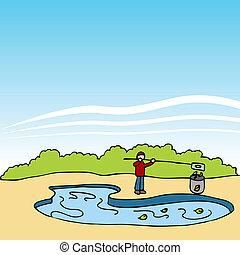 piscina, tipo, El quitar, hojas