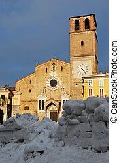 Cathedral, Lodi, Italy - Cathedral church in wintertime with...