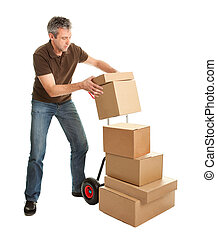 Delivery man staking packages on hand truck Isolated on...