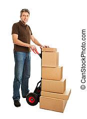 Delivery man with hand truck and stack of boxes Isolated on...