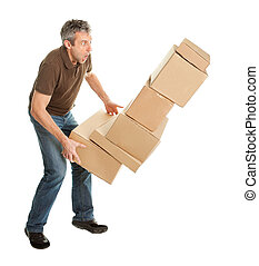 Delivery man with falling stack of boxes Isolated on white