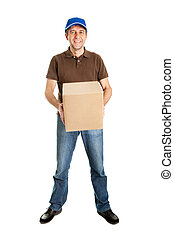 Delivery man holding package box Isolated on white
