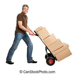 Delivery man pushing hand truck and stack of boxes -...