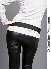 woman bottom black leather pants - woman bottom wearing...