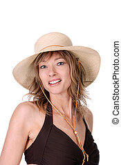woman wearing bathing suit and hat