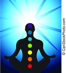 Male silhouette meditating with chakra - Vector illustration...