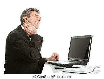Senior business men having neck pain Isolated on white
